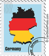 vector stamp with the image maps of Germany