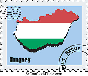 vector stamp of Hungary