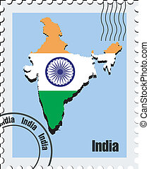 vector stamp of India