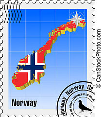 vector stamp of Norway