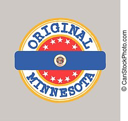 Vector Stamp of Original logo and Tying in the middle with Minnesota flag.