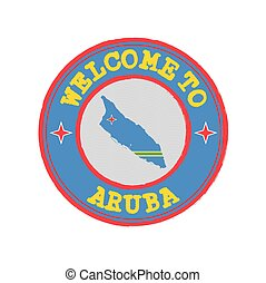 Vector stamp of welcome to Aruba with map outline of the nation in center.