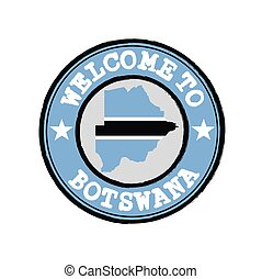 Vector stamp of welcome to Botswana with map outline of the nation in center.