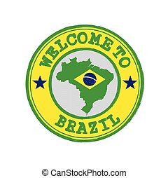 Vector stamp of welcome to Brazil with map outline of the nation in center.