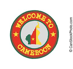 Vector stamp of welcome to Cameroon with map outline of the nation in center.