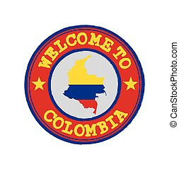Vector stamp of welcome to Colombia with map outline of the nation in center.