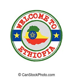 Vector stamp of welcome to Ethiopia with map outline of the nation in center.