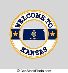 Vector stamp of welcome to Kansas with map outline of the nation in center. the states of America.