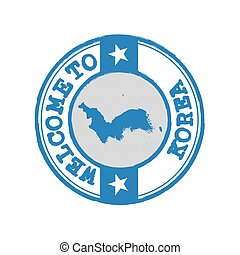 Vector stamp of welcome to Korea with map outline of Korean Peninsula in center.