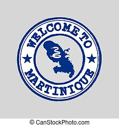 Vector Stamp of welcome to Martinique with nation flag on map outline in the center.