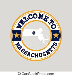 Vector stamp of welcome to Massachusetts with map outline of the nation in center. the states of America.