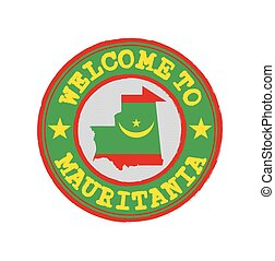 Vector Stamp of welcome to Mauritania with nation flag on map outline in the center.