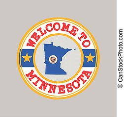 Vector stamp of welcome to Minnesota with map outline of the state in center.