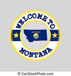 Vector stamp of welcome to Montana with map outline of the nation in center. the states of America.