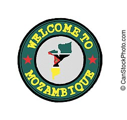 Vector Stamp of welcome to Mozambique with nation flag on map outline in the center.