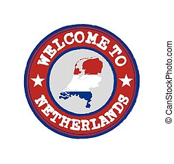 Vector Stamp of welcome to Netherlands with nation flag on map outline in the center.