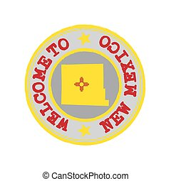 Vector Stamp of welcome to New Mexico with states flag on map outline in the center.