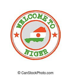 Vector Stamp of welcome to Niger with nation flag on map outline in the center.