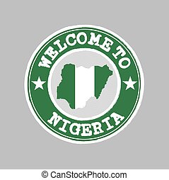 Vector Stamp of welcome to Nigeria with nation flag on map outline in the center.