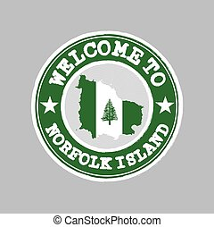 Vector Stamp of welcome to Norfolk Island with nation flag on map outline in the center.