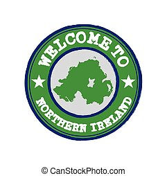 Vector Stamp of welcome to Northern Ireland with nation flag on map outline in the center.