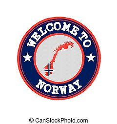 Vector Stamp of welcome to Norway with nation flag on map outline in the center.