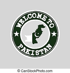 Vector Stamp of welcome to Pakistan with nation flag on map outline in the center.