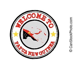 Vector Stamp of welcome to Papua New Guinea with nation flag on map outline in the center.
