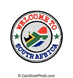 Vector stamp of welcome to South Africa with map outline of the nation in center.
