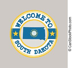 Vector stamp of welcome to South Dakota with map outline of the nation in center. the states of America.