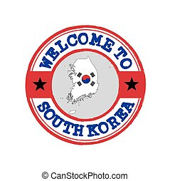 Vector stamp of welcome to South Korea with map outline of the nation in center.