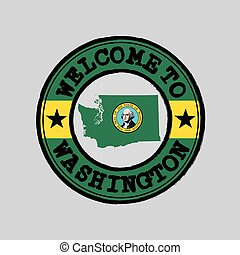 Vector stamp of welcome to Washington with map outline of the nation in center. the states of America.