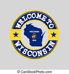Vector stamp of welcome to Wisconsin with map outline of the nation in center. the states of America.