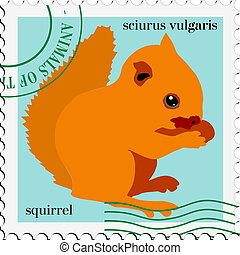 vector stamp with squirrel