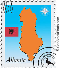 Vector stamp with the image maps of Albania