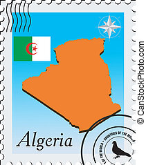 Vector stamp with the image maps of Algeria