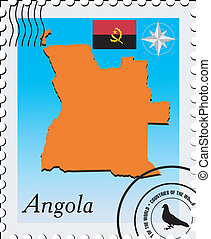 Vector stamp with the image maps of Angola