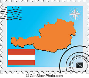 Vector stamp with the image maps of Austria