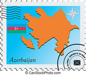 Vector stamp with the image maps of Azerbaijan