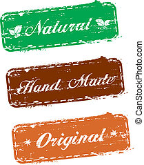 vector stamps, natural, hand made, original
