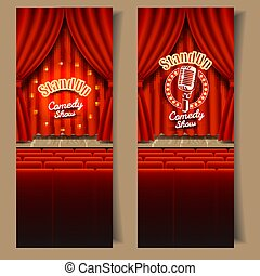 vector, stand-up, komedie, tonen, spandoek, set
