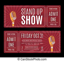 Vector stand up show tickets with retro microphone on...