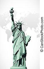 vector, standbeeld, vrijheid