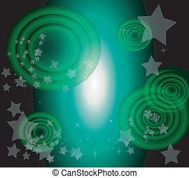 Vector star and circle dark green