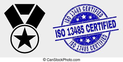 Vector Star Award Icon and Distress ISO 13485 Certified Watermark