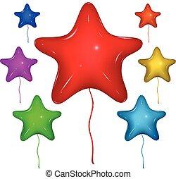 Vector Star Balloon. Color set. - Set of shiny vector star...