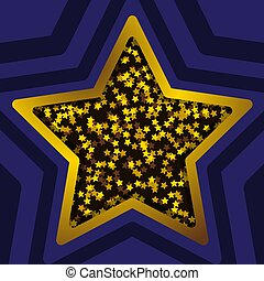 Vector star banner. Isolated on blue transparent background. Vector illustration