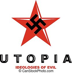 Vector star logo composed with fascism symbol. Totalitarian...