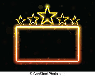 Star Neon Movie Sign With Copyspace - Vector - Star Neon...