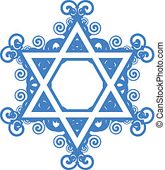 star of David - Vector star of David with floral decorations